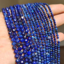 Natural Lapis Lazuli Bead Faceted Blue Stone Round Loose DIY Beads for Jewelry Making Handmade Bracelet 15inch 2/3/4mm