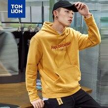 TONLION мужской одежды с длинным рукавом толстовки в стиле сафари желтый черный с капюшоном пуловер мужские свободные Письмо печати вышивка 2020