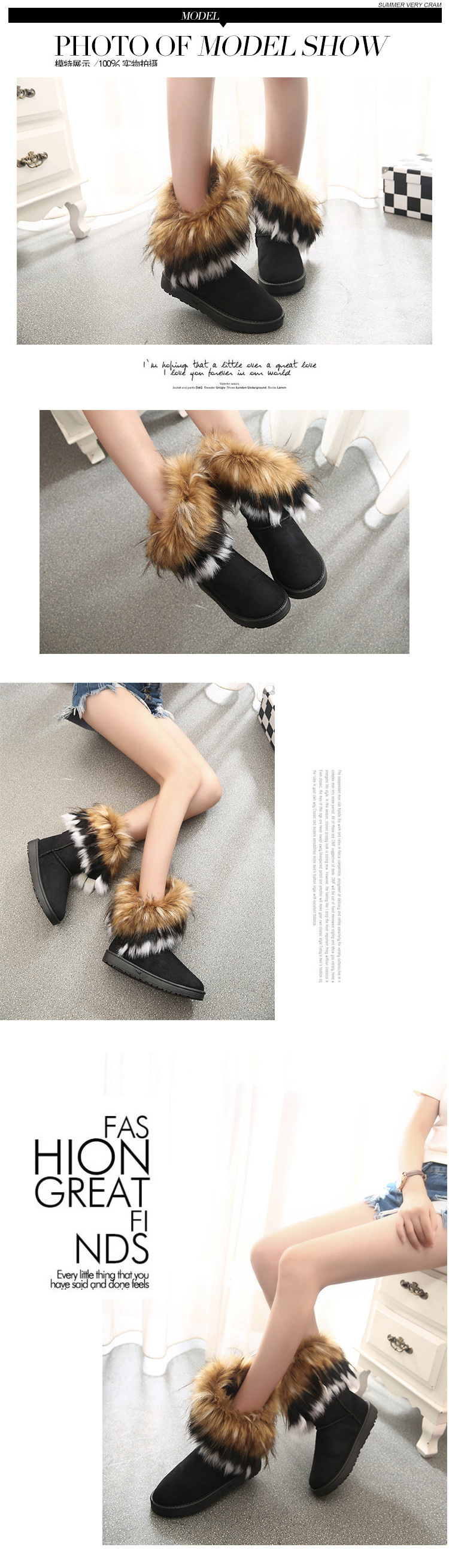 Women Fur Boots Ladies Winter Warm Ankle Boots For Women Snow Shoes Style Round-toe Slip On Female Flock Snow Boot Ladies Shoes 29