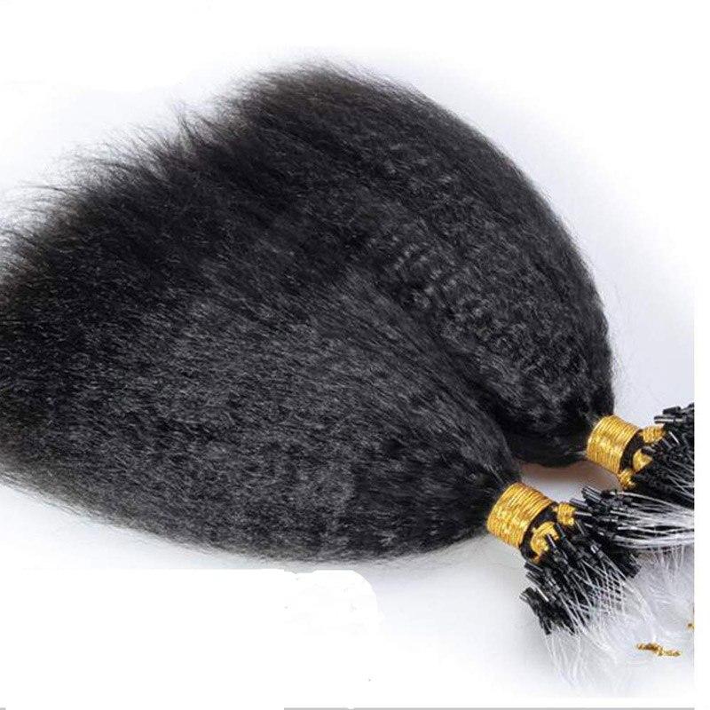 Накладные волосы на микро-петлях бразильские Remy человеческие волосы кудрявые прямые 100 г в упаковке человеческие волосы грубые прямые воло...