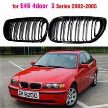 Передняя Центральная матовая Черная Широкая решетка радиатора для BMW E46 седан 4 двери 3 серии 2002 2003 2004 2005 320i 325Xi 330Xi
