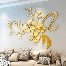 Hibiscus flor espelho adesivos de parede sala tv pano de fundo diy arte decoração da parede entrada para casa acrílico adesivos de parede decoração