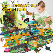 Dinosaur World Map Toy Model Game Mat World Transport Map Pattern Design Interactive Children's Playhouse Toy