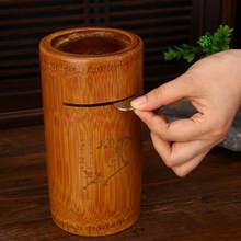 Natural de bambu mealheiro moeda caixa de dinheiro de madeira caixa de dinheiro de armazenamento seguro euro moeda titular cofre de moeda decoração para casa fp020