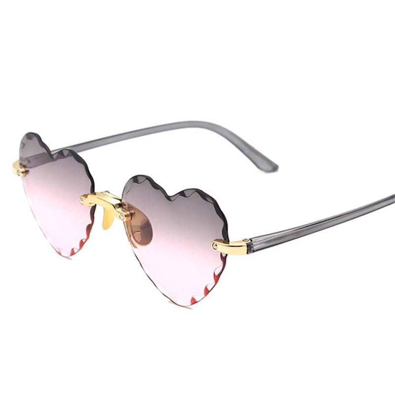 Women Rimless Sunglasses Fashion Heart-shaped Sun Glasses for Wome Vintage Cute 90s Gradient Shades Eyeglasses  UV400 9