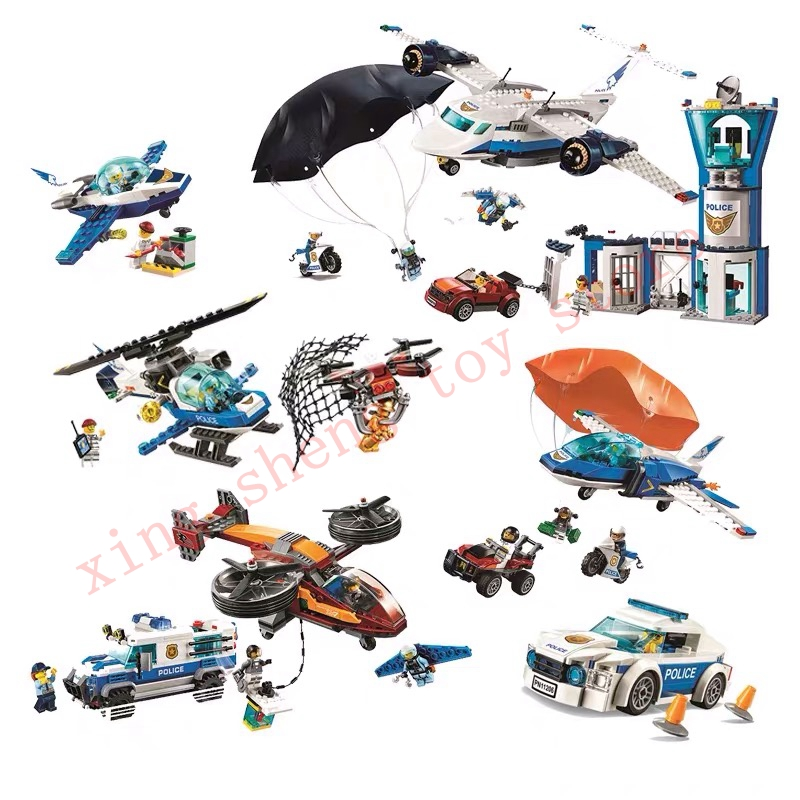 New 11205-11210 city arctic sky air base getaway car airplane parachute building blocks 60210 Toy gifts Compatible legoingsly
