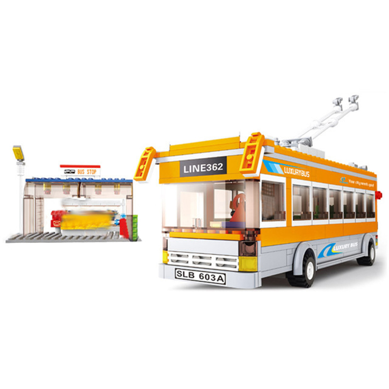 City Vehicles Compatible Legoingly Friends School Bus Station Stop Car Truck Model Building Blocks kits Bricks Toys For Children