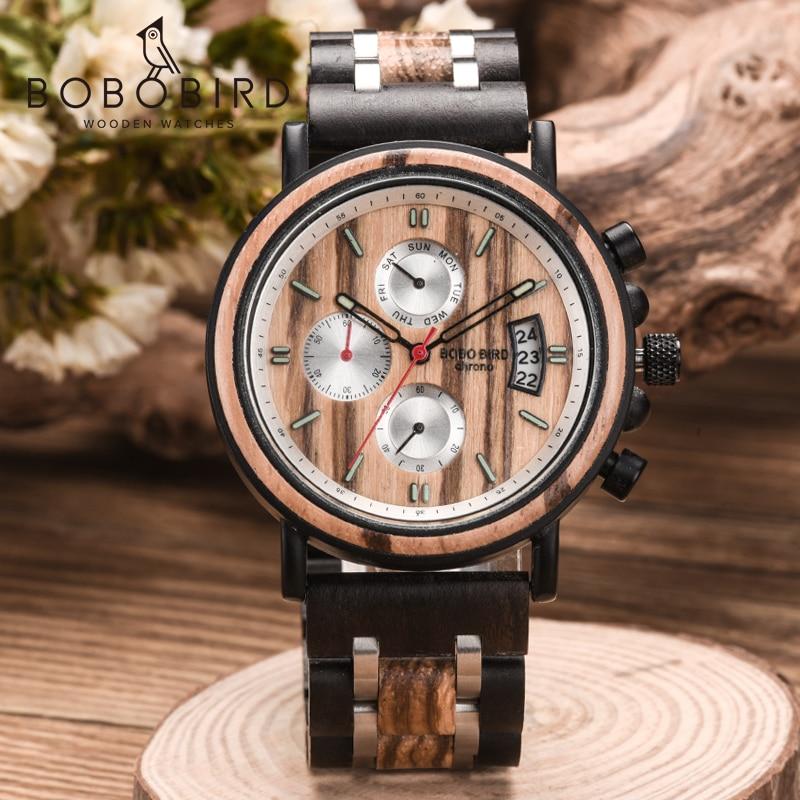 Men Watch BOBOBIRD Luxury Wood Men's Wrist Chronograph Stopwatch Auto Date relogio masculino Quartz Wristwatch Wooden Box C-S18