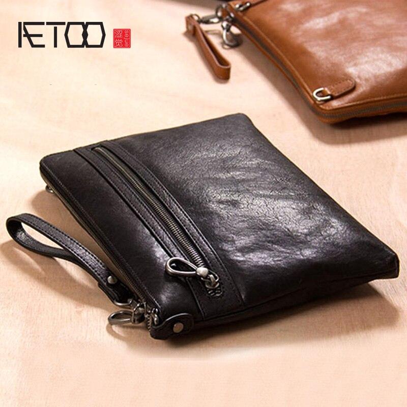 AETOO Men's leather handbag, black leather business hand bag, large-capacity soft leather hand-picked bag, envelope bag