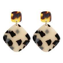 ECODAY Fashion Leopard Acetate Acrylic Earrings Geometric Drop for Women Brincos Dangle Earring Pendientes Boho Jewelry