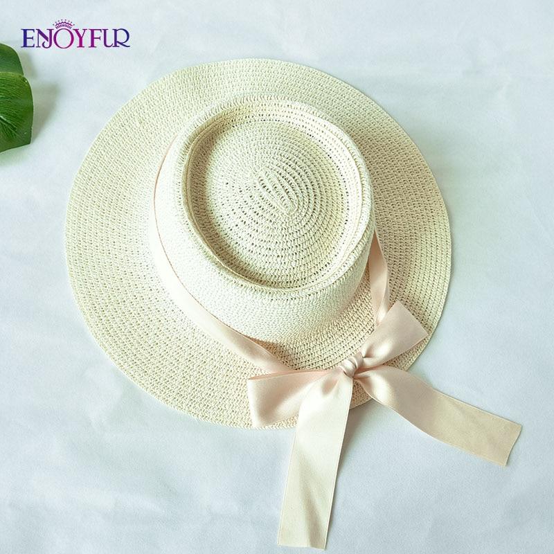 ENJOYFUR Women Summer Straw sun Hats Ribbon Bow Beach hat female girls fashion flat top Panama hat UV UPF sun hat