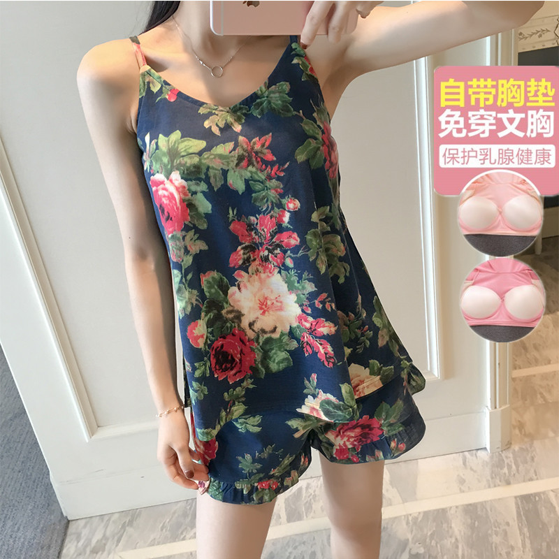 Spaghetti Strap Pajamas Female Summer Fresh Korean-style With Chest Pad Sexy Sweet Summer Cute Students Home Wear Two-Piece Set