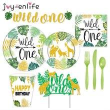 Set di stoviglie usa e getta Wild One Green a tema piatti di carta tovaglioli tazze Baby Shower decorazioni per feste di compleanno per bambini