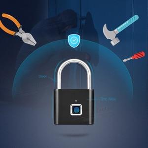 Image 2 - Towode 1pc intelligent USB rechargeable door lock fingerprint padlock for bag quick unlock fingerprint cabinet lock
