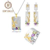 GEM'S BALLET 925 Sterling Silver Handmade Bamboo Jewelry Set Natural Topaz Amethyst Peridot Ring Earrings Pendant Sets For Women