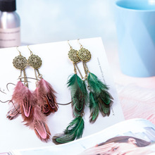 Explosion Style European Exaggerated Feather Pop Earrings Retro Ethnic Long Tassel Female Atmospheric