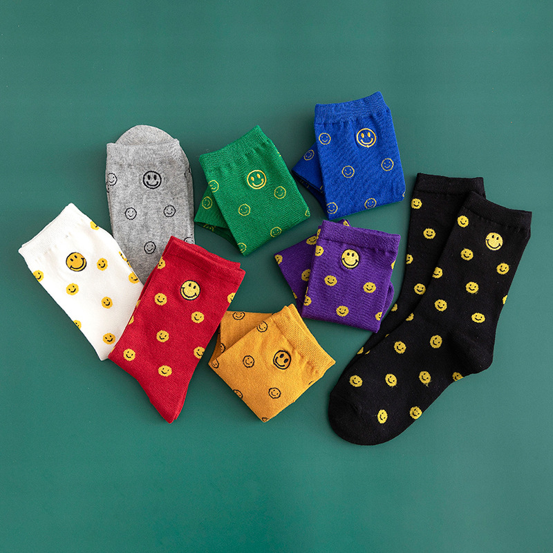 Smile Embroidery Cute Socks Women Colorful Korea Students Sweet Cartoon Funny Facial Expression Cotton Girls Athletic Crew Socks