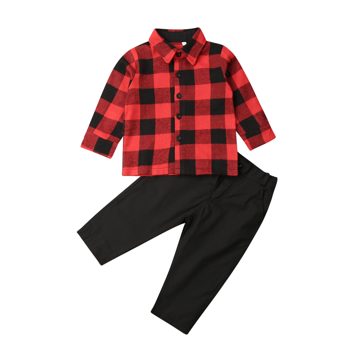 1-6Y Christmas Toddler Kid Baby Boy Clothing Set Red Plaid Shirt Tops Pants Outfits Kids Gentleman Formal Suit Autumn Costumes