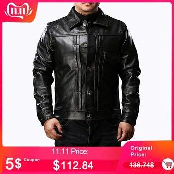 High Quality Brand Waterproof Genuine Leather Jacket Men Thick Warm Fashion Slim Fit Cool Sheepskin Coat Classic Japan