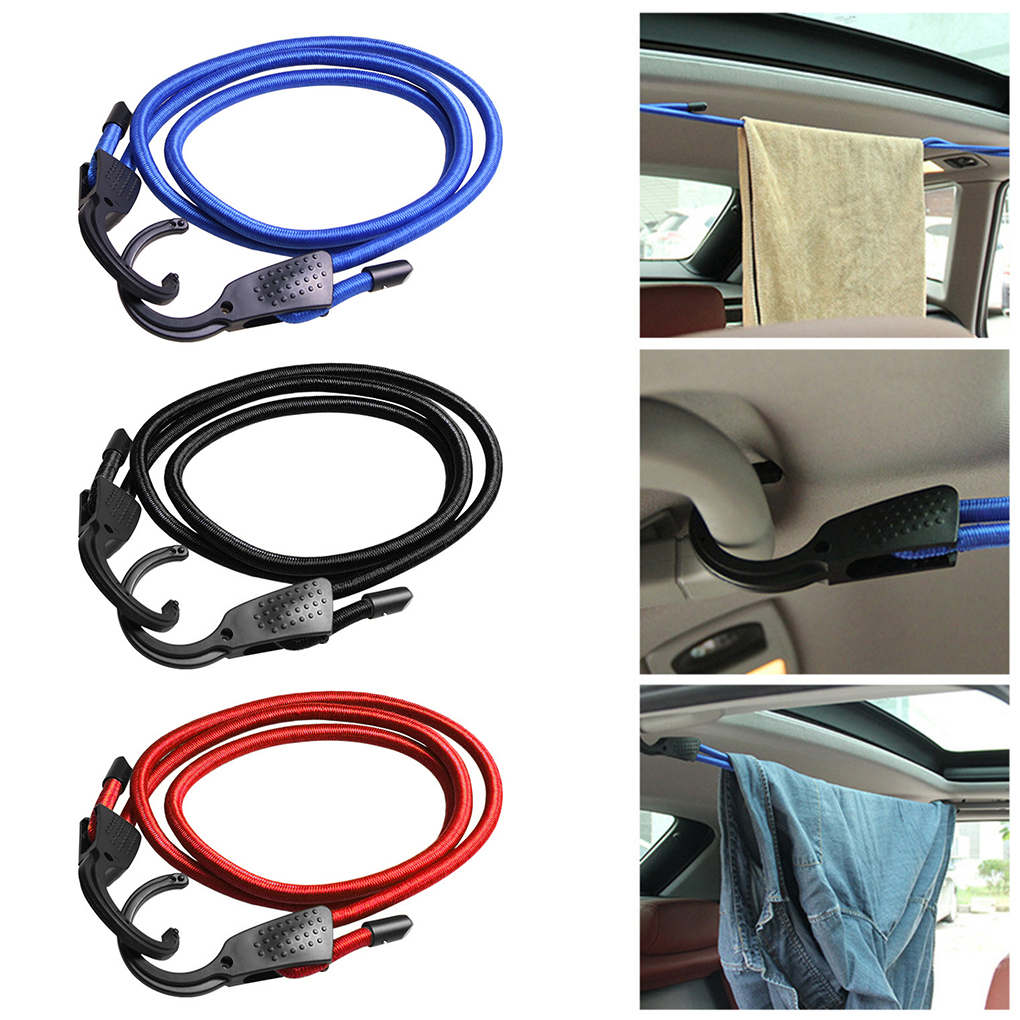 1.5m Adjustable Car Luggage Rope Indoor Clothing Clothesline Car Elastic Plastic Hook Car Luggage Tent Ropes