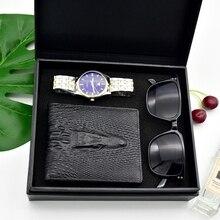 Fashion Man Business Watch Crystal Stainless Steel Analog Quartz Wrist Watch Luxury gift box set Good Quality Men's Quartz Clock