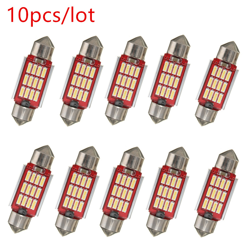 10x 36mm 39mm 42mm Led Dome Light 12LEDs 4014 SMD Canbus Interior Bulb C10W Festoon Error Free Doom Led Reading Lamp