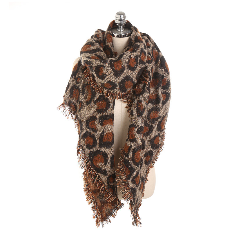 2019 Oversize Winter Scarf Women Wool Leopard Cashmere Scarves Female Big size Shawl Wrap Blanket Warm new Fashion Shawl in Women 39 s Scarves from Apparel Accessories