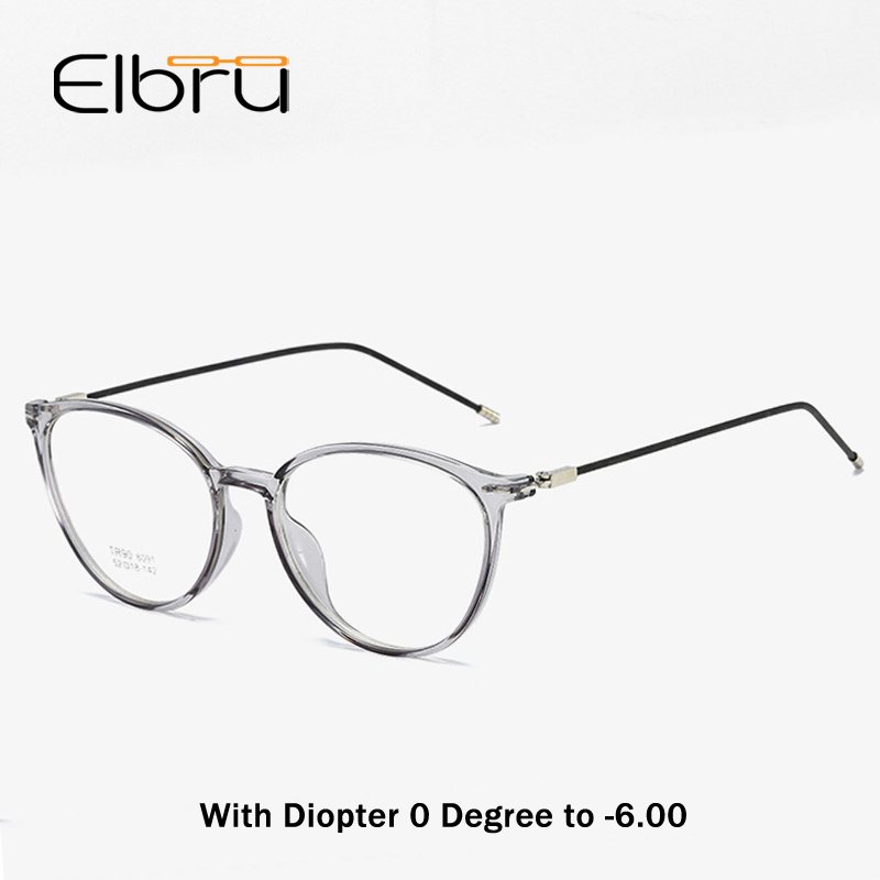 Elbru Diopter 0 -0.5 1.0 1.5 2.0 2.5 3.0 3.5 4.0 4.5 5.0 5.5 6.0 Myopia Glasses Fashion Transparent Cat Eye Frame Myopic Eyewear