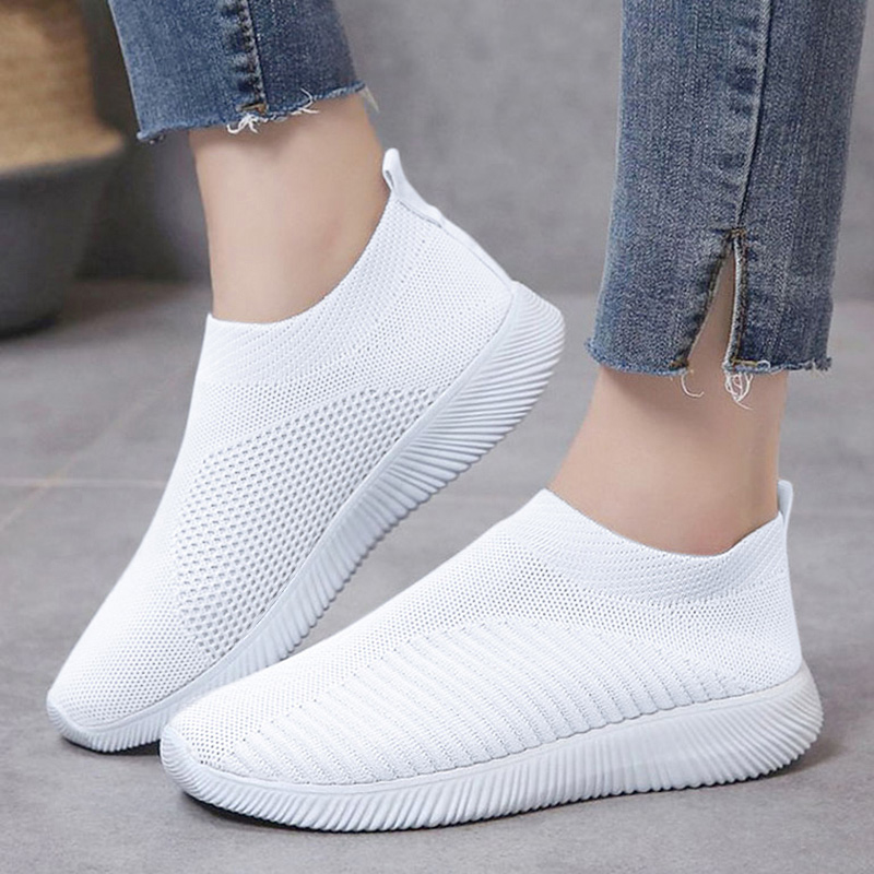 Women Shoes Plus Size 43 Autumn Sneakers Woman Vulcanized Shoes Casual Slip On Flat Shoes White Mesh Soft Walking Footwear
