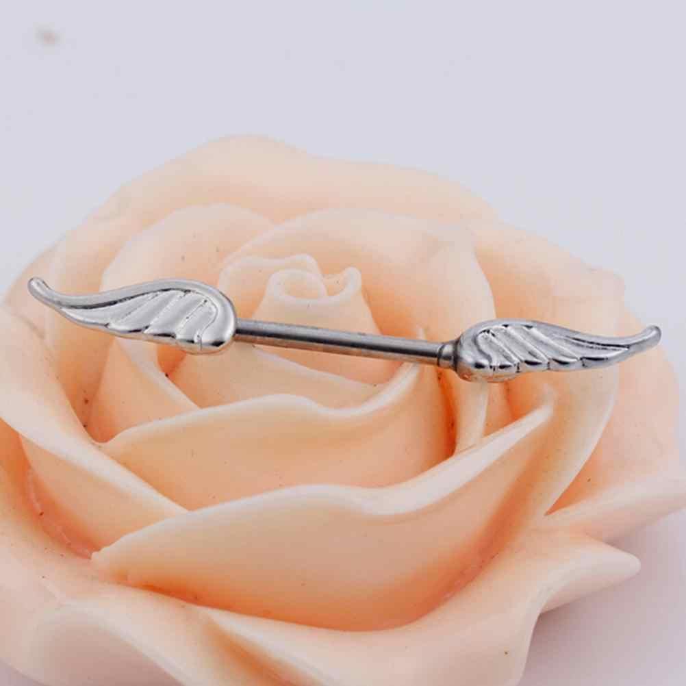 1 قطعة مجوهرات موضة ثقب الجسم سبيكة أجنحة الملاك الدروع الدائري ريشة الحلمة بار الحديد