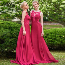 Real Rill Illusion Neck Bridesmaid Dress Chiffon Sleeveless Floor Length Button Zipper Up Back Prom With Lace Applique