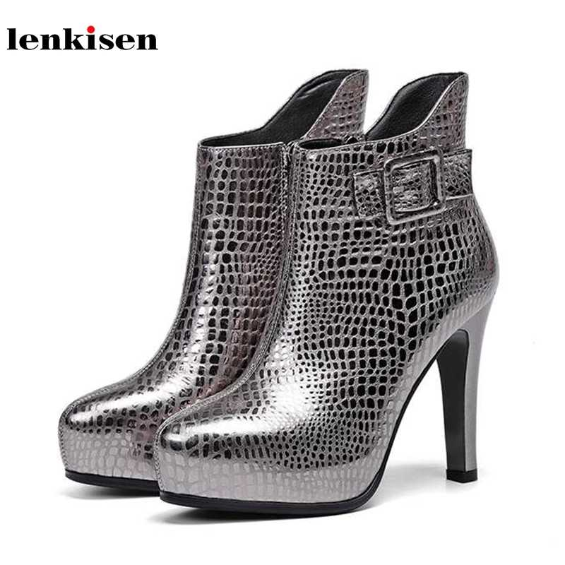 Lenkisen metall druck kuh leder schnalle riemen super high heels mode reife dame party winter frauen warm zip stiefeletten l86