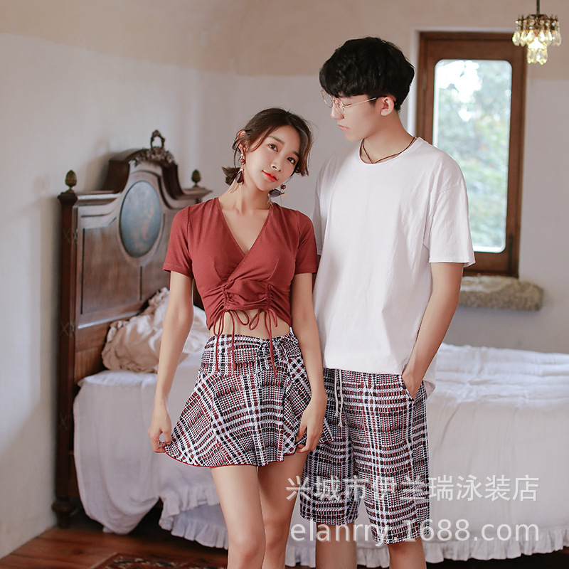 2020 Couples Bathing Suit Split Type Two-Piece Bathing Suit Women's Couples Swimwear Sexy Conservative Skirt Holiday Hot Springs