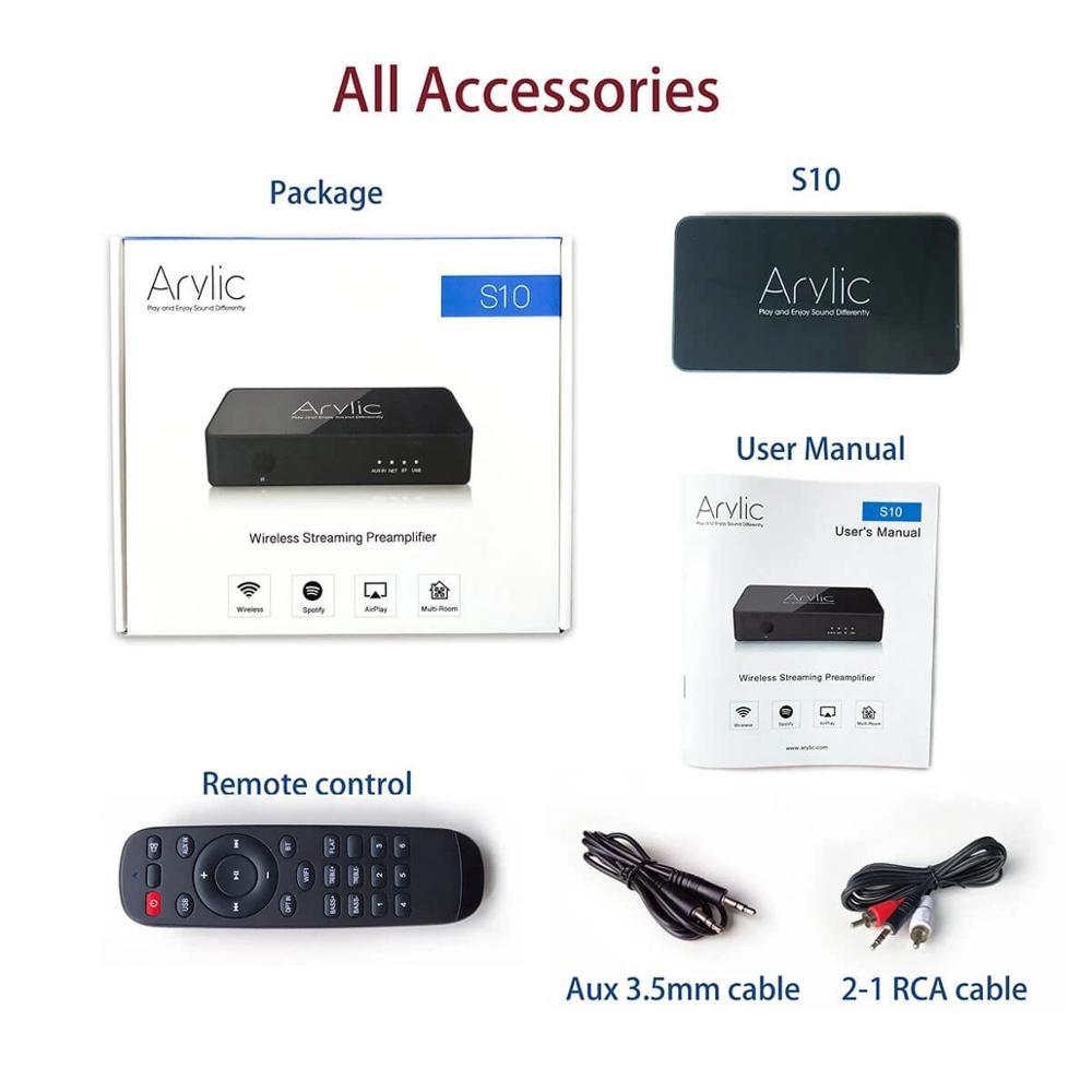 Acrílico S10 WiFi y Bluetooth 5,0 HiFi estéreo receptor Audio adaptador con Spotify Airplay DLNA Internet Radio Multiroom App gratuita - 4