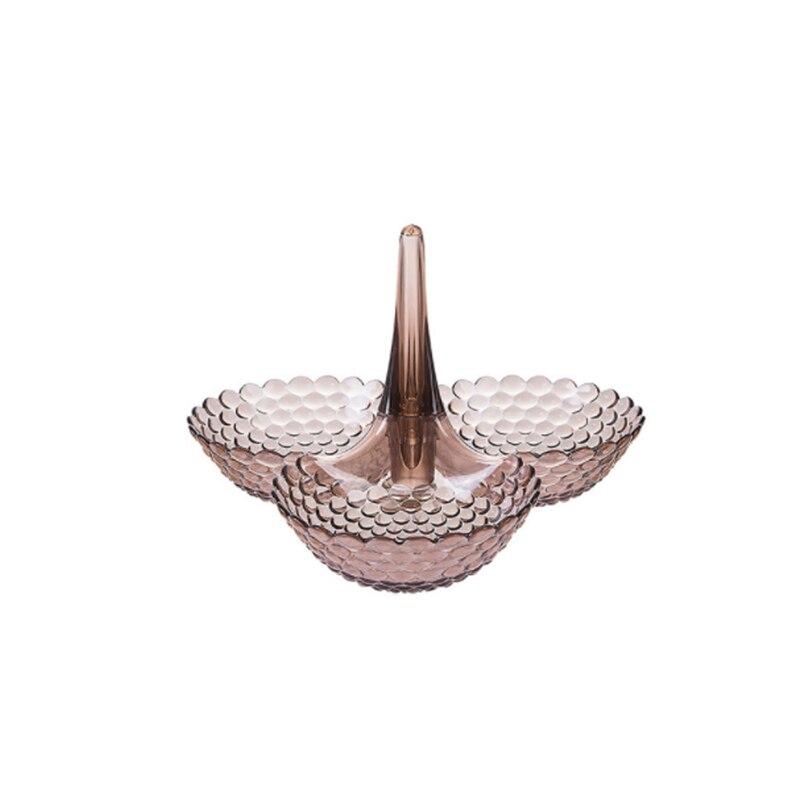Сложенный Европейский лоток для хранения многослойная пластиковая тарелка сухофрукты закуски блюдо миска стол Закуски конфеты лотки стеллаж Органайзер - Цвет: 1 layer-Brown