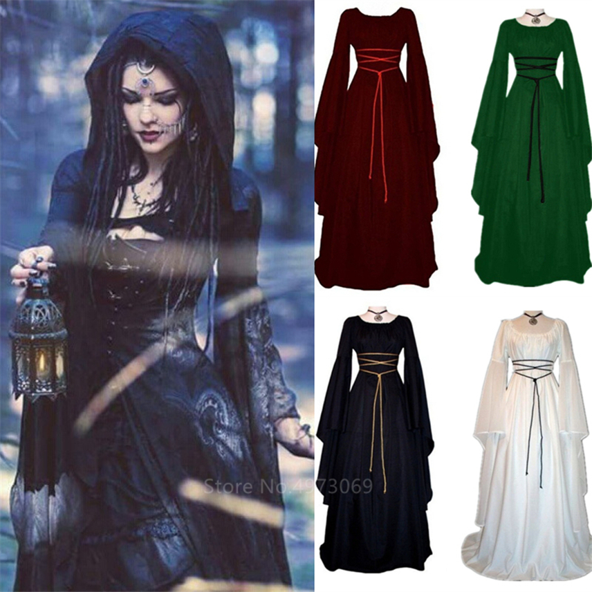 Medieval Witch Dress For Women Halloween Carnival Party Cosplay Performance Clothing Middle Ages Vampire Bride Costumes