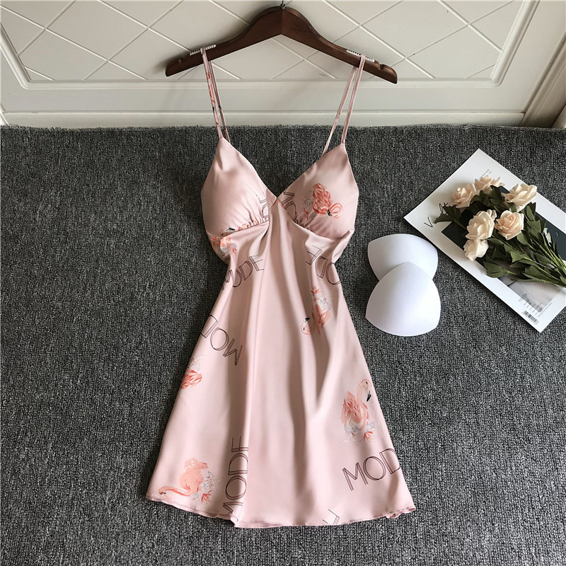 New Sexy Nightdress Ladies Animal Picture Nightgown Women Silk Satin Soft Sleepwear Summer Nightwear Chest Pads Homewear