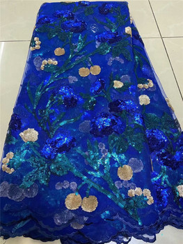 Hot selling royal blue African French Lace Fabrics Good quality Nigerian net Fabric Organza Lace with sequins for Wedding FJY39