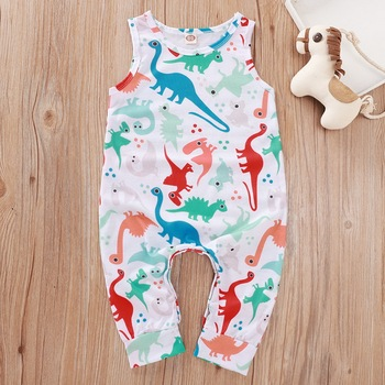 Summer Newborn Baby Boy Girl Clothes Sleeveless Cotton Cute Dinosaur Print Romper Jumpsuit One-Piece Outfit Sunsuit Playsuit D3 цена 2017