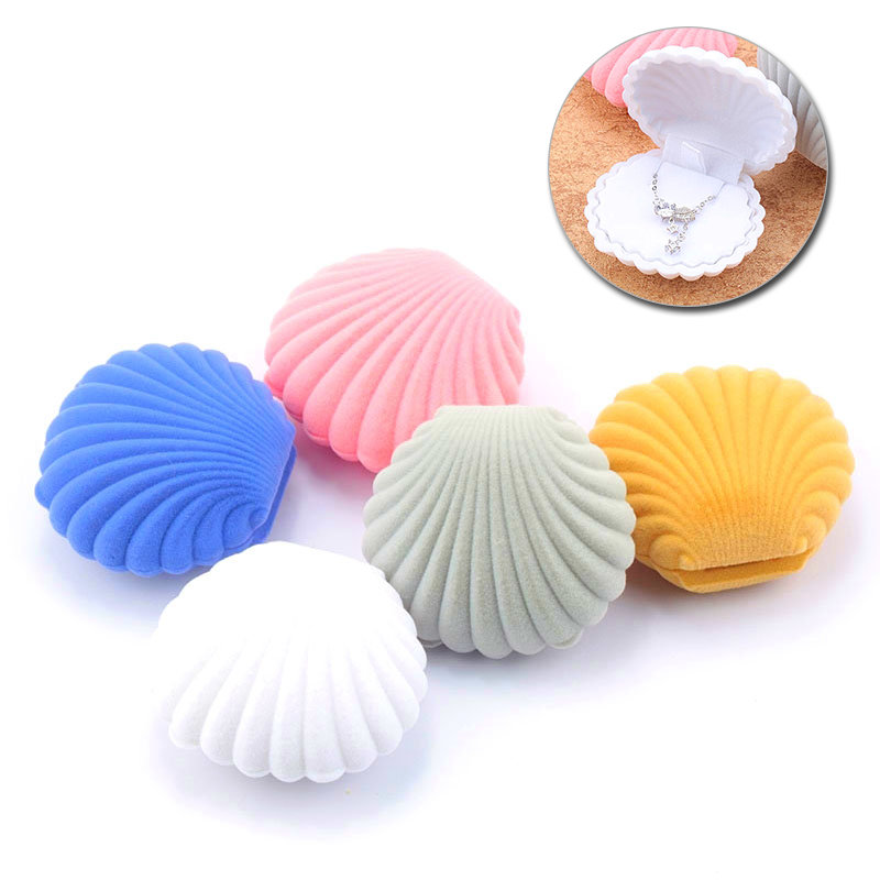 1 Piece Lovely Shell Shape Velvet Jewelry Box Wedding Engagement Ring Box For Earrings Necklace Bracelet Display Gift Box Holder