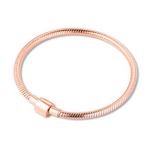 2020 New Genuine 925 Sterling Silver Rose Gold Moments Barrel Clasp Snake Chain Bracelets for Women Fashion Jewelry bijoux(China)
