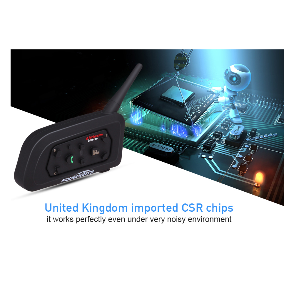 1pc V6 Pro Intercom Helm Bluetooth Headset Moto rcycle Kommunikation für 6 Fahrer intercomunicador moto Sprech MP3 GPS
