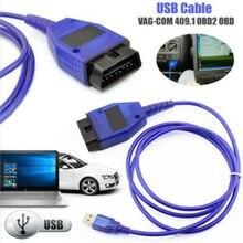 Studyset Автомобильный USB Vag Com Интерфейс кабеля KKL VAG-COM 409,1 OBD2 II OBD диагностический сканер авто кабель Aux (синий)