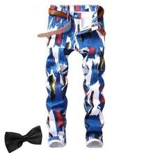 Gift 2019 Man Printed Jeans Slim White Black Floral 3D Paint Men Skinny Pants Streetwear Club Cool Male Fit Jean hombre homme