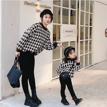 Parent-child girl baby houndstooth sweater high lamb wool pullover sweater irregular hem grey chimney collar flared sleeves irregular hem sweater
