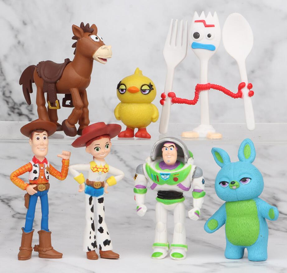 7PCS Set Action Figure Toy Story 4 Model Forky Buzz Lightyear Woody Jessie Alien Horse PVC Plastic Cake Figure Decoration Toys