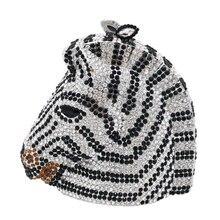 Boutique De FGG Elegante Zebra & Pferd Kopf Frauen Mini Kristall Abend Geldbörsen und Handtaschen Hochzeit Party Schminktäschchen Clutch Tasche