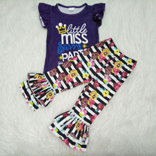 spring baby girl clothes little miss sassy pants letters top and flowers pattern ruffle pants
