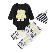 New Autumn Baby Boy Girl Long Sleeve Letters Print Romper Tops Trousers Striped Hat Outfits Clothes