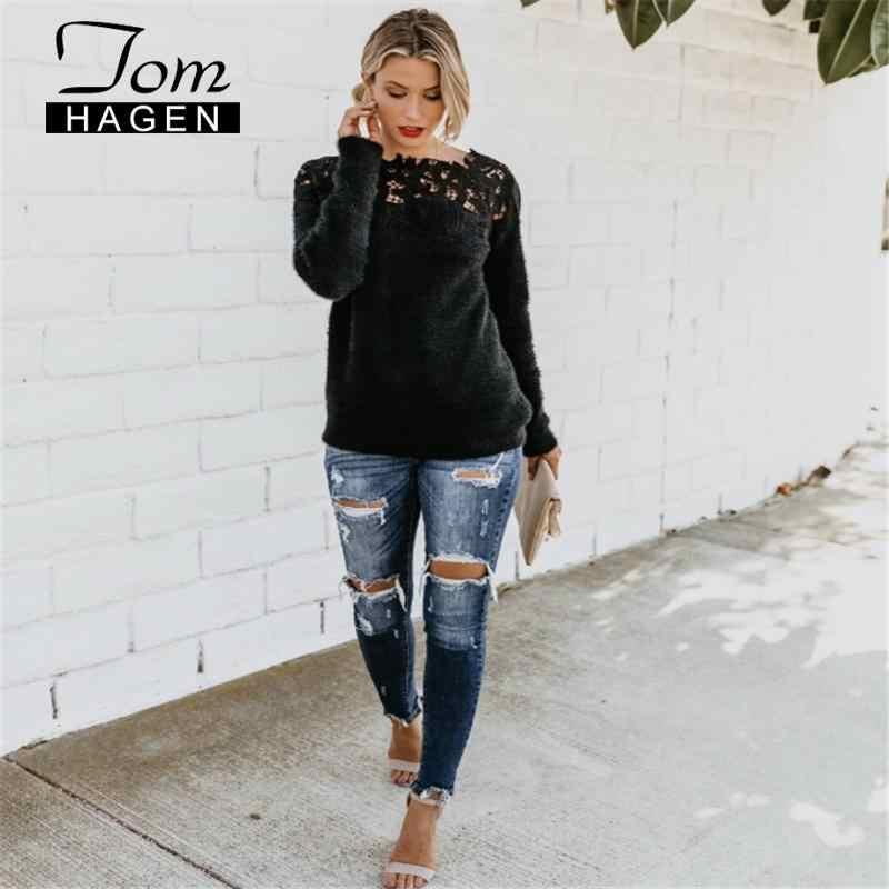 톰 하겐 여성 스웨터와 풀오버 겨울 따뜻한 니트 양모 스웨터 한국어 플러스 사이즈 튜닉 섹시한 핑크 긴 소매 점퍼